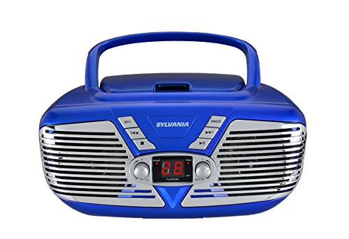 Sylvania Retro Style Portable CD Boombox with AM/FM Radio and Aux Input, Blue
