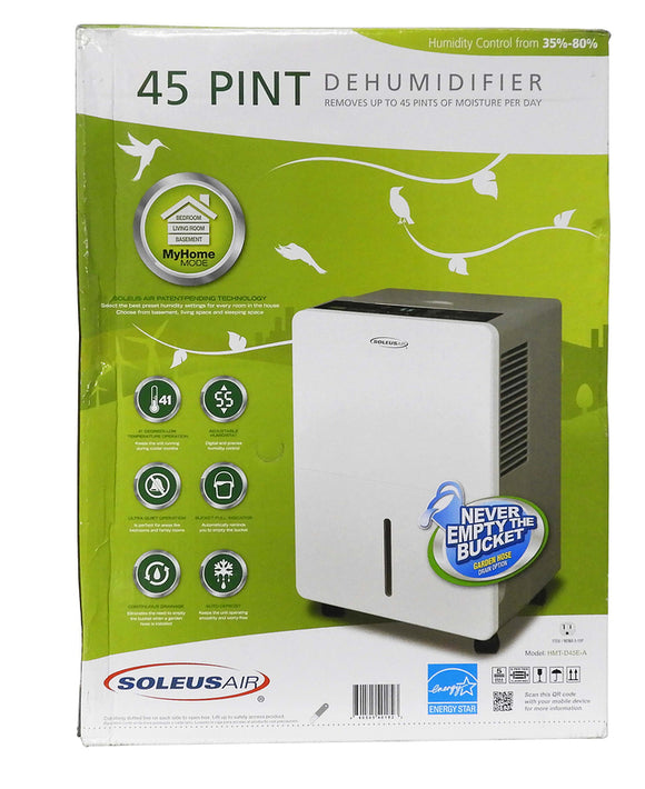 Soleus Air REFURBISHED Dehumidifier, 45 Pint, 8.5 Pint Bucket, Garden Hose Connection