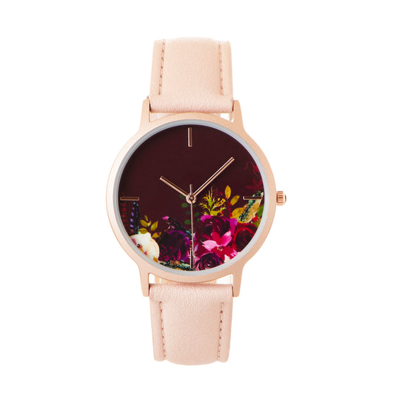 Geneva Dazzling Floral Watch with Leather Band, Pink