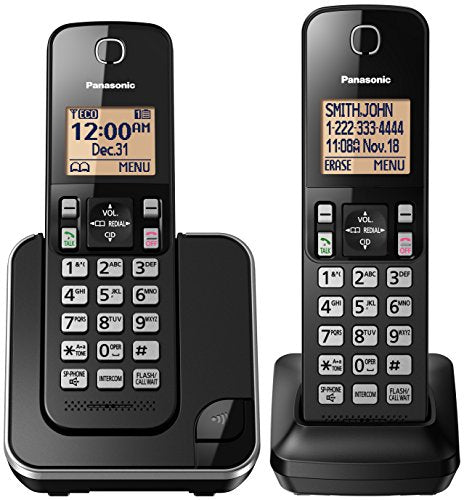 Panasonic KX-TGC352B Dect 6.0 2 Handset Cordless Telephone, Black - Caller Block; Silent Mode; Battery Saving Mode; NOT Wall Mountable; Hearing Aid Compatible, No belt clip; Expandable Up to 6 Handsets