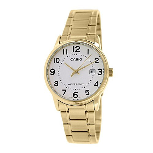 a91afb299 Casio #MTP-V002G-7B Men's Standard Analog Gold Tone Stainless Steel Date  Watch