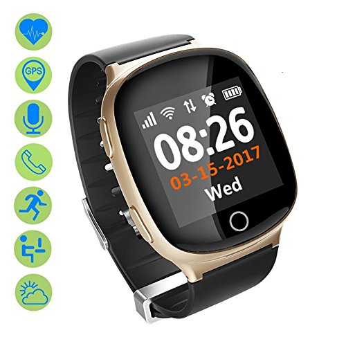 AGPtek Q18s Smart Watch Wristwatch, Champagne Gold for Android Smart Phones - Health  Monitoring, Alarm, Pedometer, Sleep Analysis, HD Display