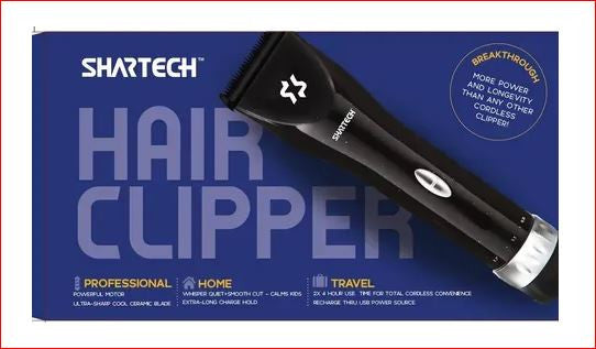 Shartech Hair Clipper Lightweight Cordless Rechargeable AND CORDED has 000 Blade Long Battery Life Comes With 4 Attachments 3, 5,7,9 mm.