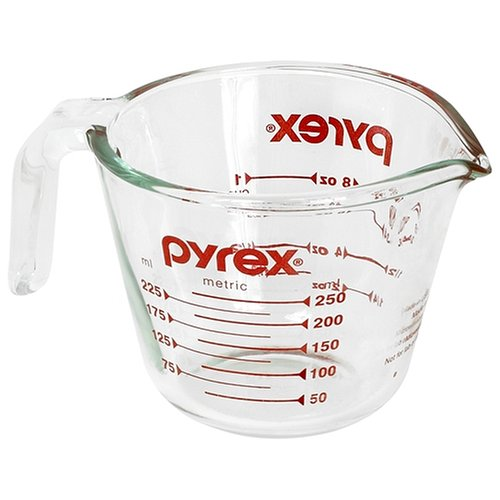 Pyrex Prepware 1 Cup Measuring Cup, Clear with Red Measurements