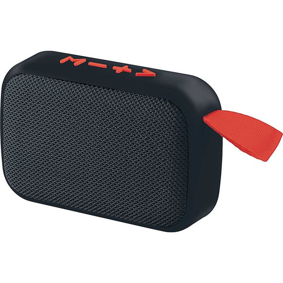 Coby Stereo True Wireless Rechargeable Bluetooth Speaker with Built in Mic, Plays MP3 and FM Radio Wireless Range of 33 Feet USB and MicroSD Inputs, Black and Red