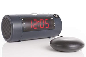 The Sonic Blast - Super Loud Projection Alarm Clock with Bluetooth Speaker & Sonic Bomb Super Shaker (Black)