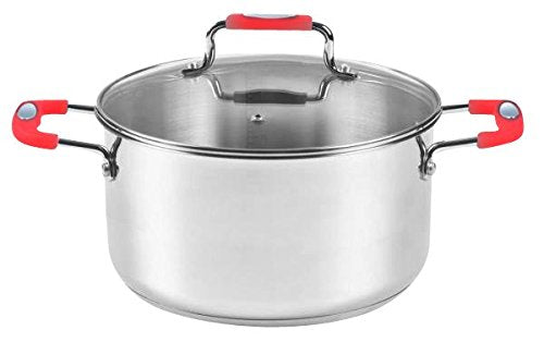 Casserole Fish Pot 8QT Stainless Steel (Red, Black)