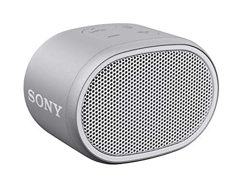 Sony XB01 Wireless Bluetooth Compact Portable Speaker and Speakerphone IPX5 Splash and Rain Resistant 3.5mm Audio Port, White-Grey