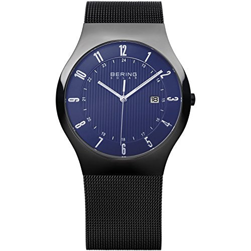 Bering Men's Solar Collection Watch with Mesh Band, Black / Blue
