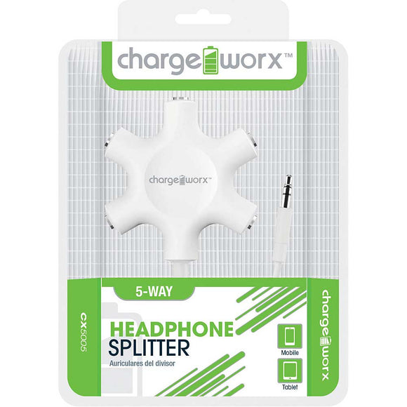 Chargeworx 5 Way Headphone Splitter