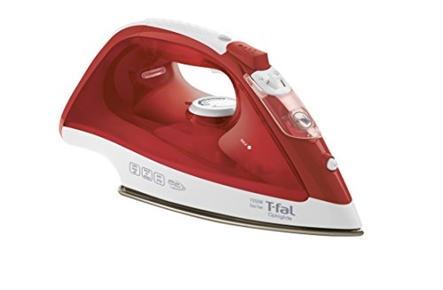 T-fal FV1535U0 1550W Optiglide Nonstick Ceramic Soleplate Steam Iron with Anti-Drip and Auto-off System, Red