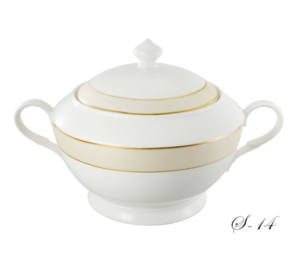 Lorren Home La Luna Collection Bone China 4 Qt. Soup Tureen with Lid, Gold Valentina 12