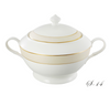 "Lorren Home La Luna Collection Bone China 4 Qt. Soup Tureen with Lid, Gold Valentina 12""x10""x9"""