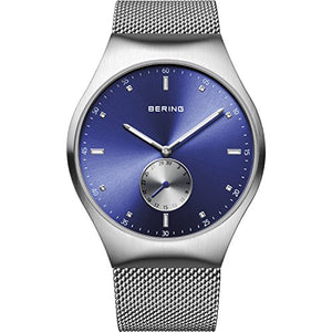 Bering Time 70142-007 Men's Smart Traveler Collection Watch, Silver/Blue