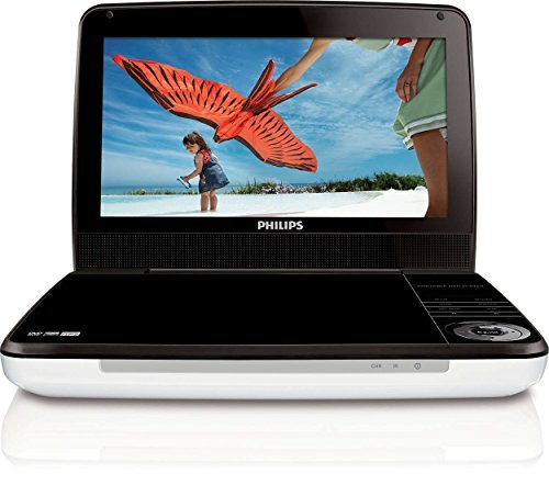 "Philips PD9000/37 9"" LCD Portable DVD Player, Silver/Black - Certified Refurbished 5 Hour Battery"
