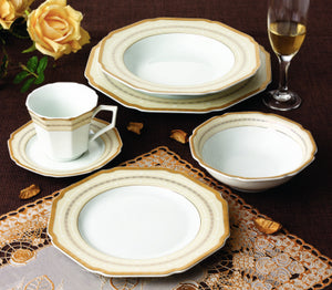 Golden Wavy Edged 57 Piece Fine Porcelain Dinnerware Set, Service for 8