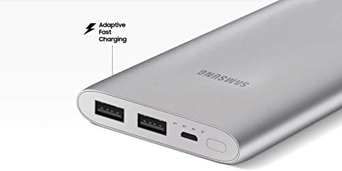 Samsung 10,000 mAh Portable Battery Pack with Dual USB Charging Ports, Fast Charge, Fast Recharge, Thin, Lightweight, Silver