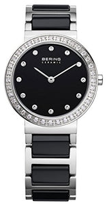 Bering Women's Ceramic Collection Stainless Steel Watch, Silver / Black