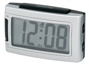 Impecca 1.3-Inch LCD Display Battery Alarm Clock with Snooze and Backlight - Metallic Silver - Requires 2 AA Batteries