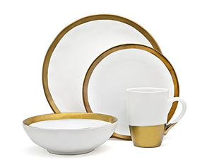 Godinger 4 Piece Porcelain Dinnerware Set, Terre Dor (White And Gold)