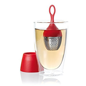 AdHoc Floating Tea Egg Infuser with Stand, Red