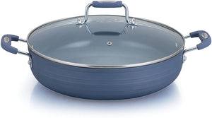 "Imperial Ceramic Coated Nonstick (12"", 14"") Low Frying Pan, Saucepan & 10QT Stockpot with Glass Cover, Matte Blue"