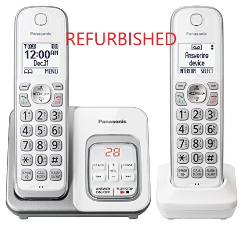 Panasonic KX-TGD532W Refurbished DECT 6.0 2 Handset Cordless Telephone,  TALKING ID White - Call Block; Answering Machine; Caller ID; 3-way Conference, Expandable Up to 6 Handsets  no headset jack