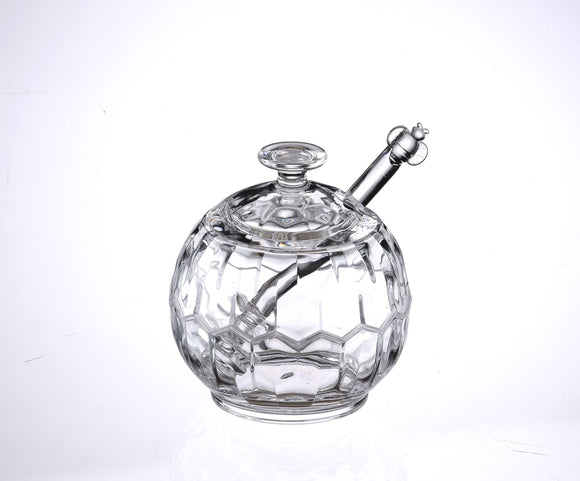 Huang Acrylic H4820 Sphere Shaped Sugar Honey Jam Jar Dish with Server  3 3/4