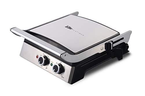 Elite EGL139 Electric Grill/Griddle Open 180° Dimensions 14.84 In. X 7.09 In. X 16.22 In., Stainless Steel