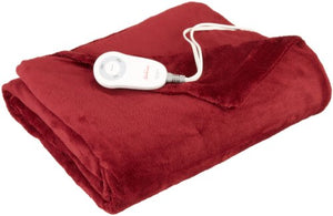 Sunbeam Microplush Heated Blanket, Garnet