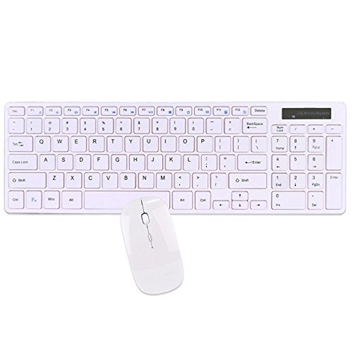Wireless Spill Resistant Low Profile Keyboard with 95 Keys & Optical Mouse Kit - White