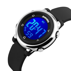Skmei Kid's Digital LED Silicone Watch, Black - Waterproof, Alarm, Stopwatch