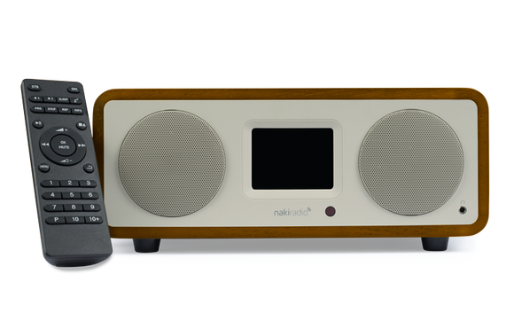 Naki Radio Home, Kosher Wifi Bluetooth Radio Player w/ Remote Streaming ONLY Pre Approved Jewish Radio Stations (works through Wifi) 4x the Power of the Original Naki , Almond
