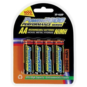 Power 2000 2900mAh Rechargeable AA Batteries, 4 Pack BATTRECHARGE BATTAA4PK