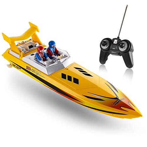 Top Race Remote Control Water Speed Boat,  Perfect Toy for Pools and Lakes 8 Mph (Yellow)