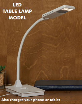 Shabboslite SL-3600W 18 LED 4000K Gooseneck Table Lamp with 3 Level Dimmer Switch in Base (with Slide Cover), White (also chargeds phone or tablet) - Includes: Travel Pouch, USB Cord with 120-240V Adapter - 17.5