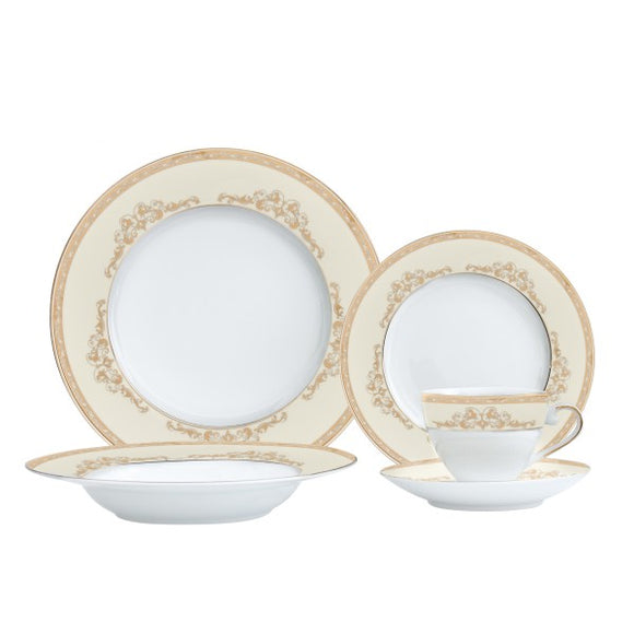 Majesty Gold 30 Piece Fine Porcelain Dinnerware Set, Service for 6