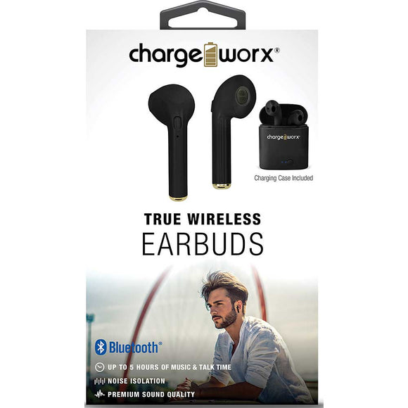 Chargeworx Wireless Bluetooth Earbuds, Black