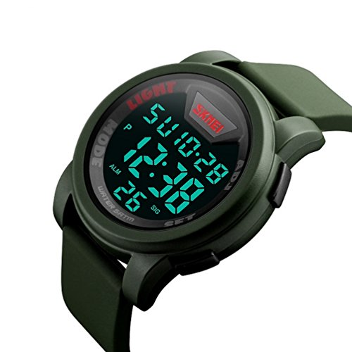 Skmei Men's Waterproof Digital Watch, Army Green - 50M Water Resistant, Calendar