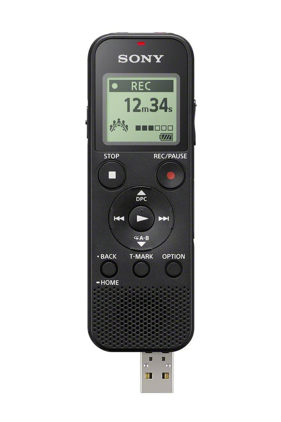 Sony ICDPX370 4GB Mono Digital Voice Recorder with Built-in USB, Black (2 AAA batteries required - included)