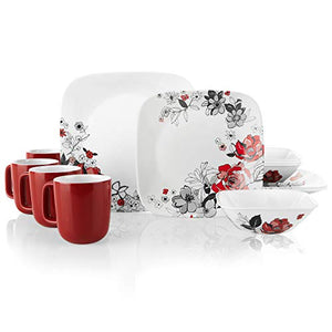 Corelle Boutique Square Chelsea Rose 16-Piece Chip Resistant Dinnerware Set, Service for 4