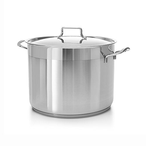 Hascevher Classic Stainless Steel Chef's Induction Stockpot with Lid, Multi-Purpose Cookware Engineered with Encapsulated Base (16 Quart) COOKPOT