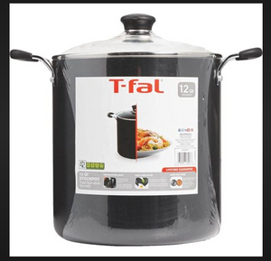 T-fal 12QT 3626274 Specialty Total Nonstick Stockpot, Black - Dishwasher Safe, Oven Safe COOKPOT