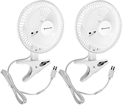 Comfort Zone CZ6C 6-Inch 2-Speed Clip-On Fans (White, 2 Pack)