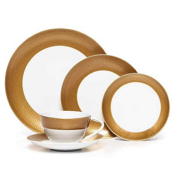 Mikasa Hammersmith 4 Piece Dinnerware Set, Gold - Includes 6.25