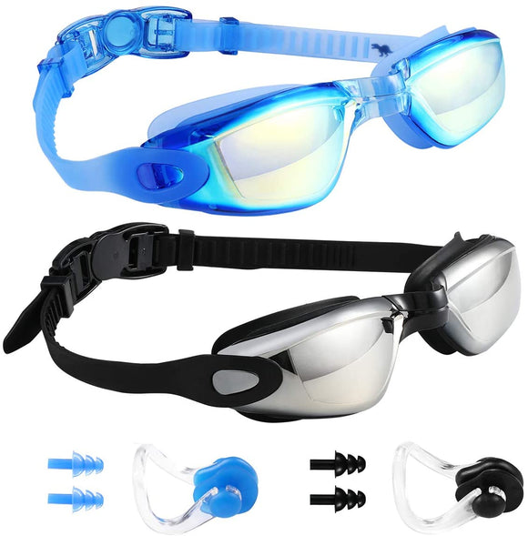 GAOGE Anti Fog UV Protection Swimming Goggles for Adults and Children - Includes Nose Clip and Ear Plugs, (Blue, Black)