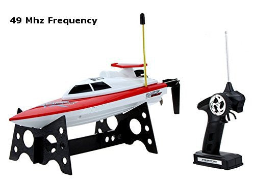 Top Race TR-800B 49Mhz Remote Control RC Water Speed Boat, Red