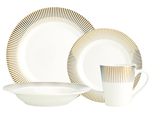 Metallic Gold 16 Piece Porcelain Dinnerware Set, Service for 4