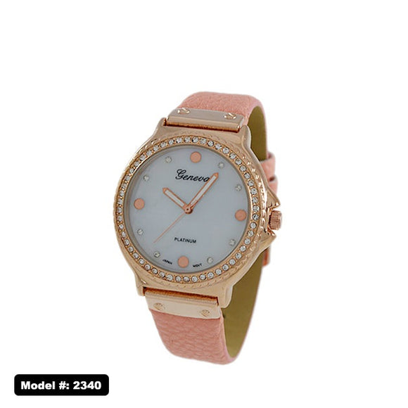 Geneva Jewel-Studded Watch with Leather Band, Pink