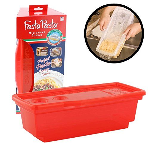The Original Fasta Pasta Microwave Pasta Cooker, Red - No Mess,Sticking or Waiting for Boil